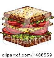 Clipart Of A Sketched Sandwich Royalty Free Vector Illustration by Vector Tradition SM