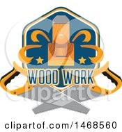 Clipart Of A Carpenter Plane And Saw Design With Text Royalty Free Vector Illustration