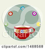 Clipart Of A Coffee Cup With Bingo Balls Over Vintage Green Royalty Free Vector Illustration by elaineitalia