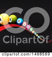 3d Red Wave With Colorful Bingo Or Lottery Balls Over Textured Metal