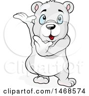 Clipart Of A Cute Polar Bear Presenting Royalty Free Vector Illustration