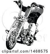 Clipart Of A Grayscale Biker On A Chopper Royalty Free Vector Illustration by dero