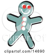 Happy Gingerbread Man Cookie Retro Clipart Illustration by Andy Nortnik
