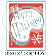 Retro Happy Holidays Greeting Clipart Illustration