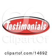 Red Testimonials Internet Website Button Clipart Illustration