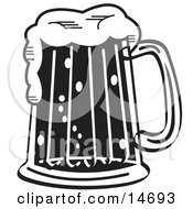 Black And White Frothy Mug Of Beer In A Bar Clipart Illustration