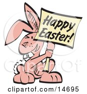 Pink Easter Bunny With Buck Teeth Holding A Happy Easter Sign Clipart Illustration