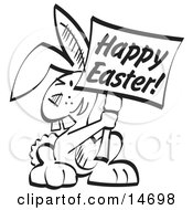 Buck Toothed Bunny Rabbit Holding A Happy Easter Sign Clipart Illustration