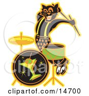 Black Cat Playing The Drums While Entertaining At A Bar Clipart Illustration
