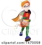 Clipart Of A Boy Trick Or Treater Running In A Super Hero Halloween Costume Royalty Free Vector Illustration