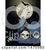 Clipart Of A Grim Reaper Skeleton Rising From A Grave Under A Halloween Full Moon With Bats Royalty Free Vector Illustration