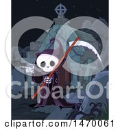 Clipart Of A Grim Reaper Skeleton Pointing In A Cemetery Royalty Free Vector Illustration