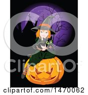 Cute Witch Girl Holding A Black Cat And Sitting On A Halloween Pumpkin In A Cemtery Under A Full Purple Moon