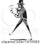 Jazz Musician Playing A Saxophone In Black And White Woodcut
