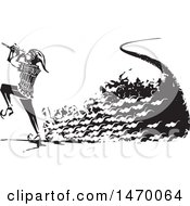 Clipart Of A The Pied Piper Marching With A Trail Of Rats And Playing A Pipe In Black And White Woodcut Royalty Free Vector Illustration by xunantunich