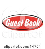 Red Guest Book Internet Website Button Clipart Illustration by Andy Nortnik