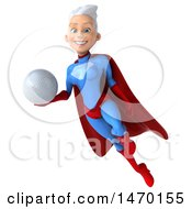 3d Young White Haired Caucasian Female Super Hero In A Blue And Red Suit On A White Background