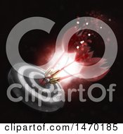 Clipart Of A 3d Target With Darts On The Bullseye Royalty Free Illustration