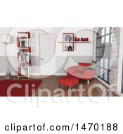 Clipart Of A 3d Red Themed Room Interior Royalty Free Illustration by KJ Pargeter