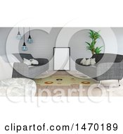 Clipart Of A 3d Living Room Interior Royalty Free Illustration by KJ Pargeter