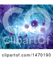 Clipart Of A 3d Virus And Dna Strand Background Royalty Free Illustration