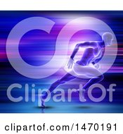 Clipart Of A 3d Man Sprinting With Streaks Royalty Free Illustration by KJ Pargeter