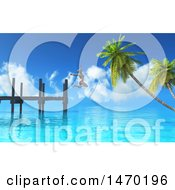 Poster, Art Print Of 3d Woman Jumping Off Of A Jetty Into The Ocean