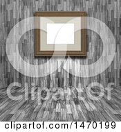 3d Blank Picture Frame In A Wood Room