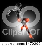 Clipart Of A 3d Anatomical Woman Jumping With Visible Leg Bones And Highlighted Joints On Gray Royalty Free Illustration