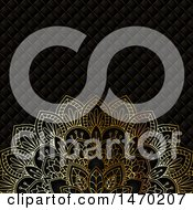 Poster, Art Print Of Golden Floral Mandala Over A Pattern