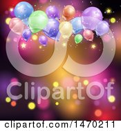 Clipart Of A Colorful Light And Party Balloon Background With Stars Royalty Free Vector Illustration by KJ Pargeter