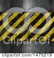 Clipart Of A Metal And Hazard Stripes Background Royalty Free Illustration by KJ Pargeter