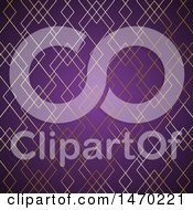 Clipart Of A Gold Pattern And Purple Background Royalty Free Vector Illustration