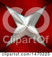 Clipart Of A Brushed Metal Star And Red Corners Royalty Free Illustration