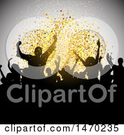 Clipart Of A Silhouetted Crowd Of Dancers And Confetti Royalty Free Vector Illustration