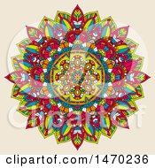 Clipart Of A Colorful Mandala On Beige Royalty Free Vector Illustration by KJ Pargeter