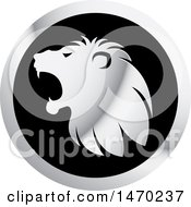 Clipart Of A Silver Roaring Lion Head In Profile On A Round Icon Royalty Free Vector Illustration