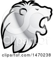 Clipart Of A Silver Roaring Lion Head In Profile Royalty Free Vector Illustration