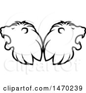 Clipart Of Black And White Roaring Male Lion Heads Back To Back Royalty Free Vector Illustration