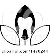 Clipart Of A Black And White Leaf Tooth Design Royalty Free Vector Illustration by Lal Perera