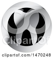 Clipart Of A Round Silver And Black Tooth Design Royalty Free Vector Illustration