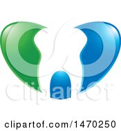 Clipart Of A Human Tooth In A Blue And Green Heart Royalty Free Vector Illustration by Lal Perera