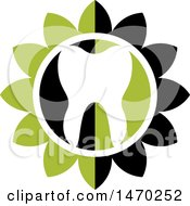 Clipart Of A Human Tooth In A White Black And Green Flower Royalty Free Vector Illustration by Lal Perera