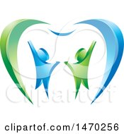Clipart Of A Blue And Green Couple And Tooth Design Royalty Free Vector Illustration