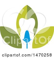 Clipart Of A Green And Blue Leaf Tooth Design Royalty Free Vector Illustration by Lal Perera