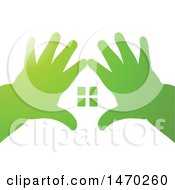 Pair Of Kids Hands Making A House