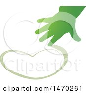 Green Childs Hand Drawing A Heart