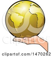 Clipart Of A Hand Holding A Golden Earth Royalty Free Vector Illustration