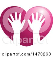 Pair Of Silhouetted Hands In A Heart