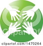 Clipart Of A Green Circle With White Hands Royalty Free Vector Illustration